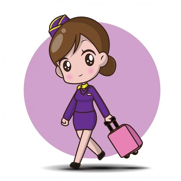 Hôtesse de l'air personnage mignon de bande dessinée. Vecteur Premium