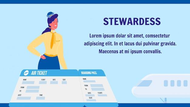 Hôtesse de l'air vecteur mise en page de bannière web avec fond Vecteur Premium