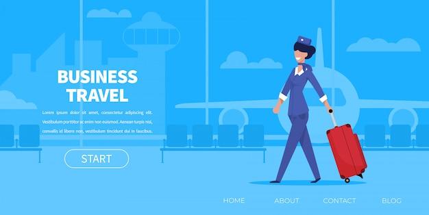Hôtesse de la bande dessinée femme en uniforme avec valise Vecteur Premium