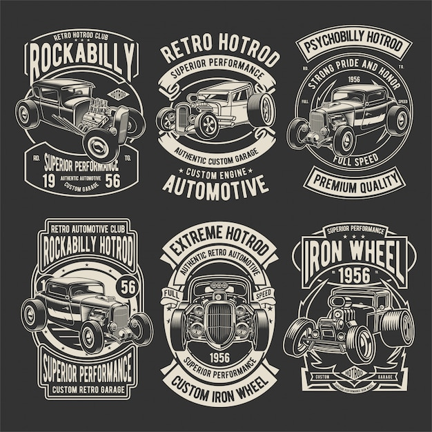 Hotrod badges pack Vecteur Premium