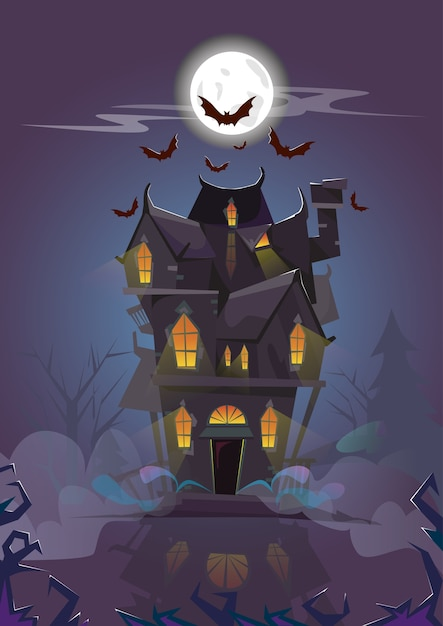 House halloween night bats volant autour Vecteur Premium