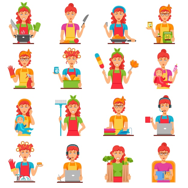 Housewife flat color icons set Vecteur gratuit