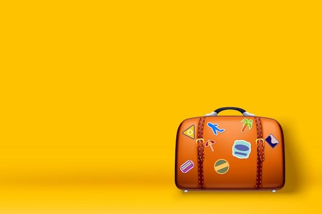 Housse De Voyage Sur Jaune Vecteur Premium