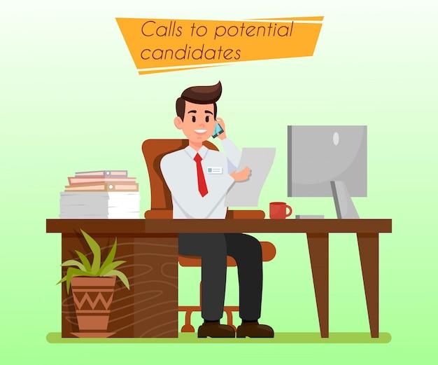 Hr Manager Chez Workplace Flat Illustration Vecteur Premium