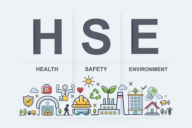 Hse - health safety environment sigle banner web icon for entreprise et organisation. Vecteur Premium