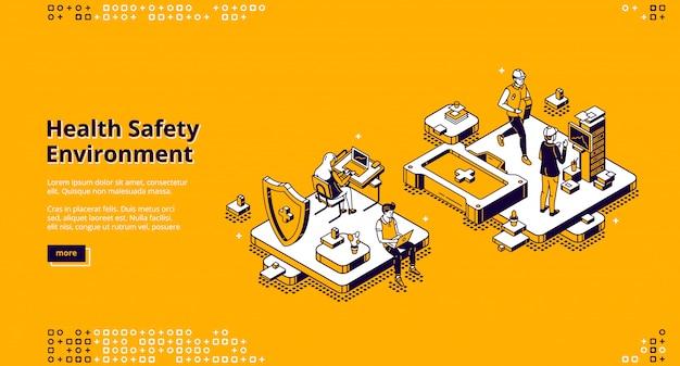 Hse, Page De Destination Isométrique De L'environnement De Sécurité Sanitaire Vecteur gratuit