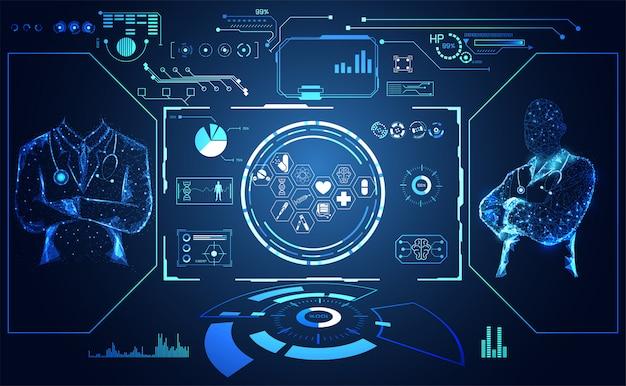 Hud interface ui futuriste concept docteur Vecteur Premium