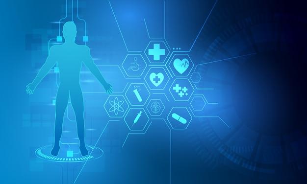 Hud interface virtuelle hologramme futur système de santé innovation fond Vecteur Premium