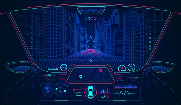 Hud de voiture intelligente Vecteur Premium
