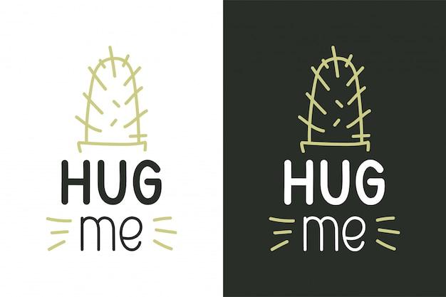 Hug Moi Citation Inspirante Vecteur Premium