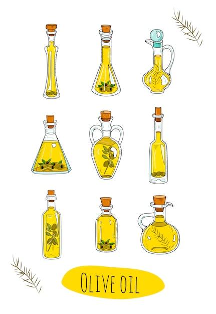Huiles D'olive Isolées Dans De Jolies Bouteilles. Vecteur Premium