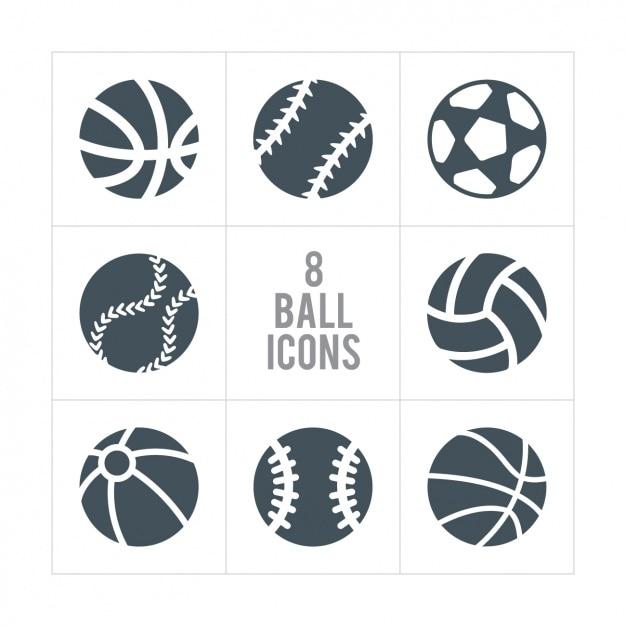 Huit billes icônes Vecteur gratuit