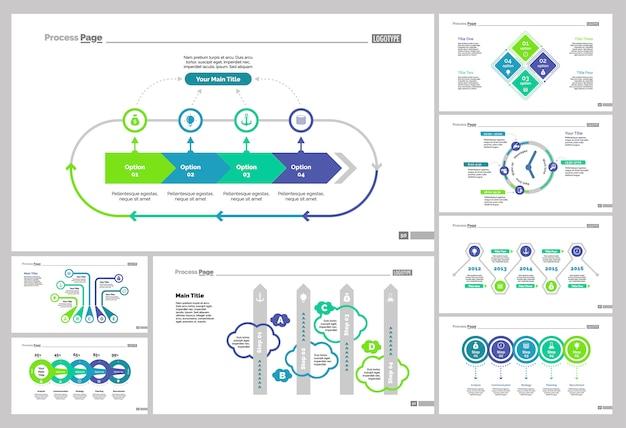 Huit ensembles de modèles de diapositives de gestion Vecteur gratuit