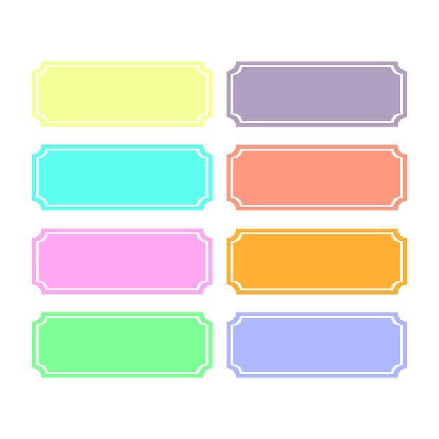 Huit modèles de couleurs pour le sous-titrage du texte. fond blanc. Vecteur Premium