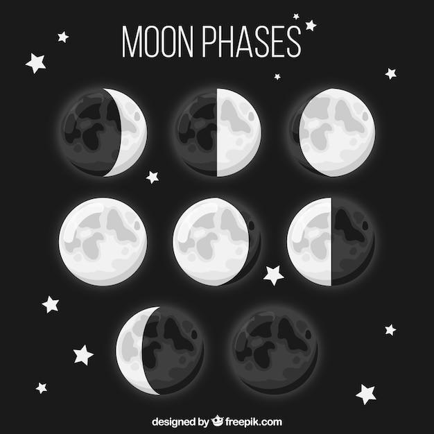 Huit phases de lune dans la conception plate Vecteur gratuit