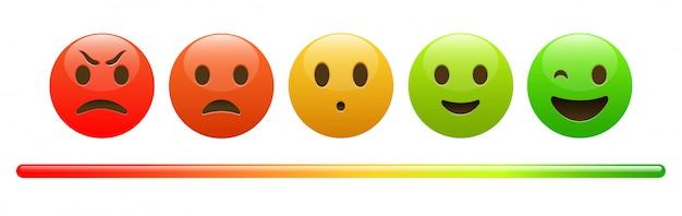 Humeur Mètre Du Visage En Colère Rouge à Emoji Vert Heureux Vecteur Premium