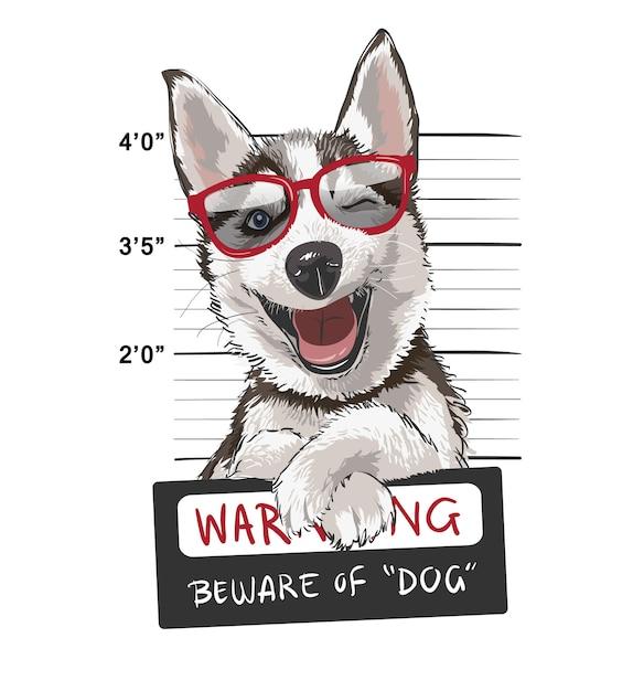 Husky heureux avec illustration de signe Vecteur Premium