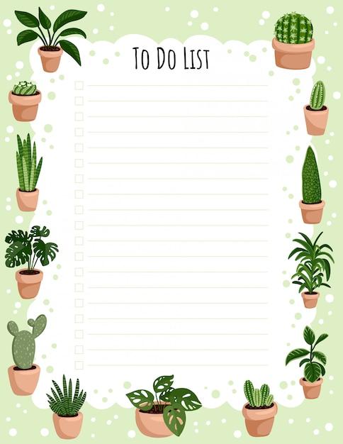 Hygge planificateur hebdomadaire et à faire avec des plantes succulentes en pot. Vecteur Premium