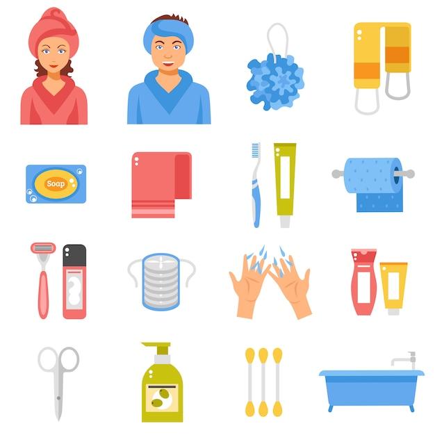Hygiène accessoires flat icons set Vecteur gratuit