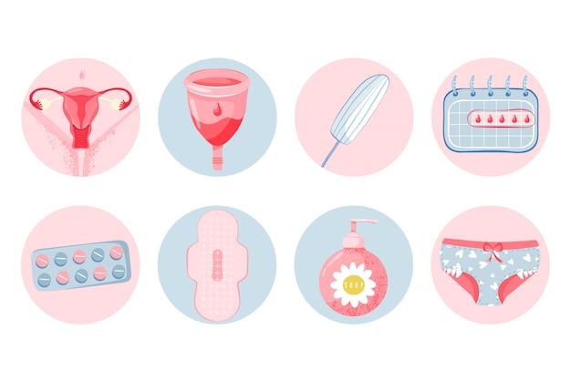 Hygiène féminine sertie de coupelle menstruelle Vecteur Premium