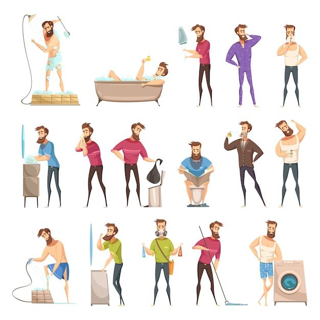 Hygiène masculine définie dans un style rétro de dessin animé avec une barbe dans diverses activités de nettoyage Vecteur gratuit