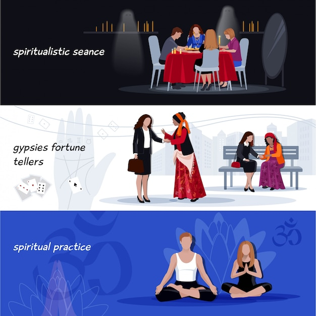 Hypnotisme extrasensory banner set Vecteur gratuit