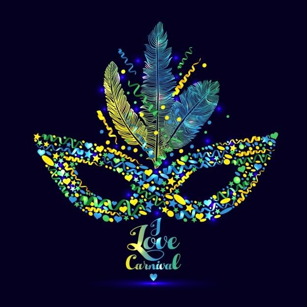 I love carnaval illustration lumineux Vecteur gratuit