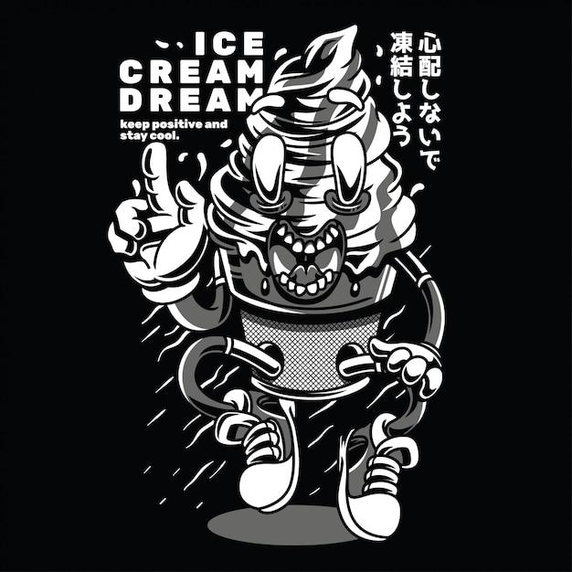 Ice cream dream noir et blanc Vecteur Premium