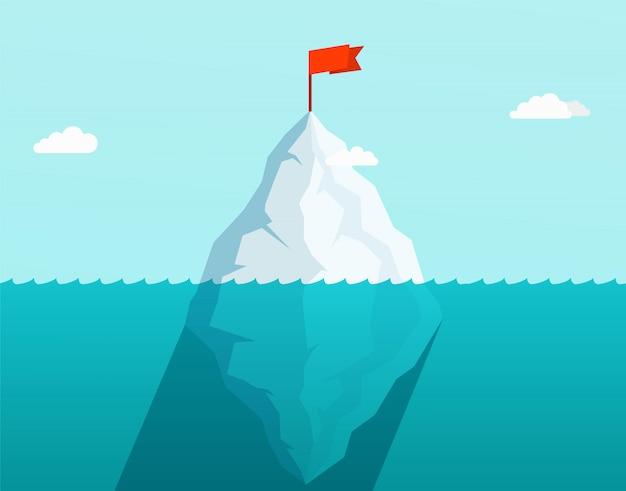 Iceberg dans l'océan flottant dans les vagues de la mer avec le drapeau rouge sur le dessus. concept d'affaires Vecteur Premium