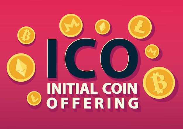 Ico ou concept initial d'offre de pièce de monnaie. Vecteur Premium