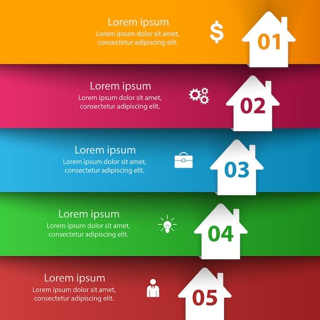 Icône 3d abstraite de la maison. infographie de l'entreprise Vecteur Premium