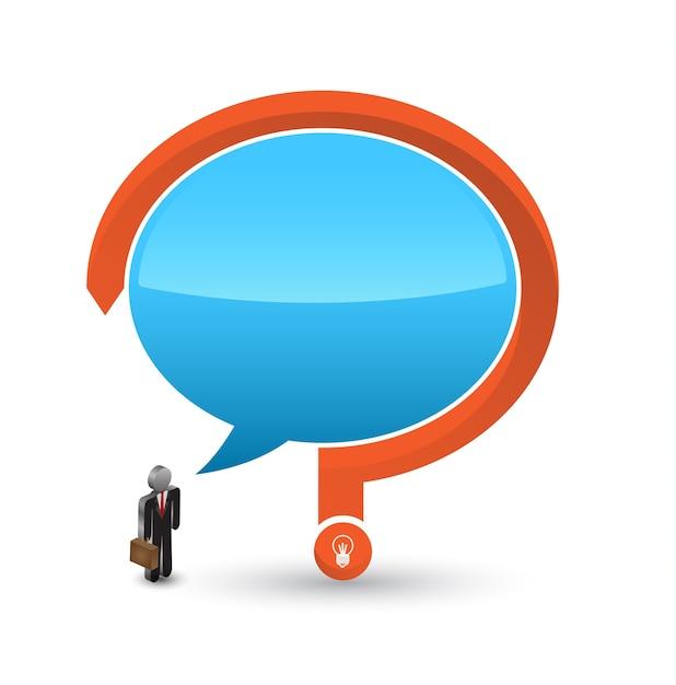 Icône 3d homme d'affaires avec discours et point d'interrogation Vecteur Premium