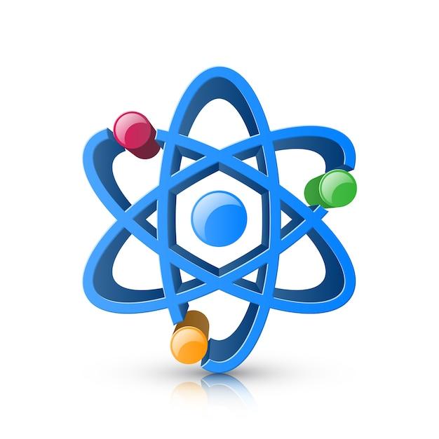 Icône 3d réaliste de l'atome sur le fond blanc. Vecteur Premium