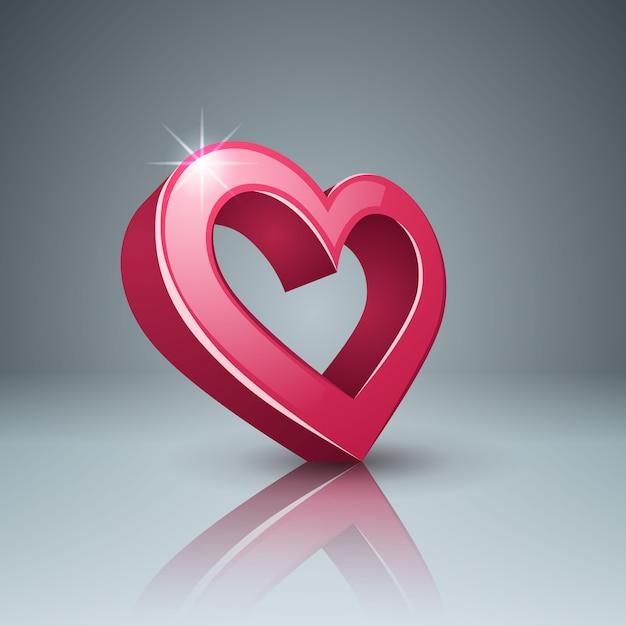 Icône 3d réaliste. cœur et amour Vecteur Premium