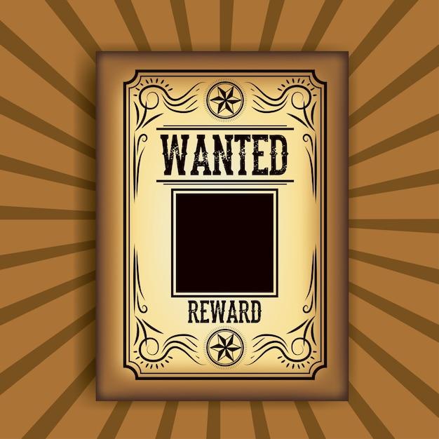 Icône d'affiche de papier wanted Vecteur Premium
