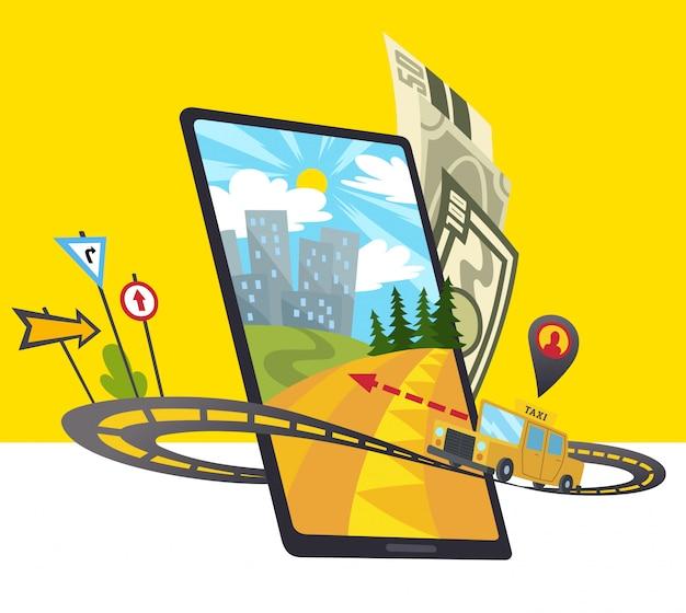 Icône De L'application Mobile Taxi Comprend Un Smartphone Vecteur Premium