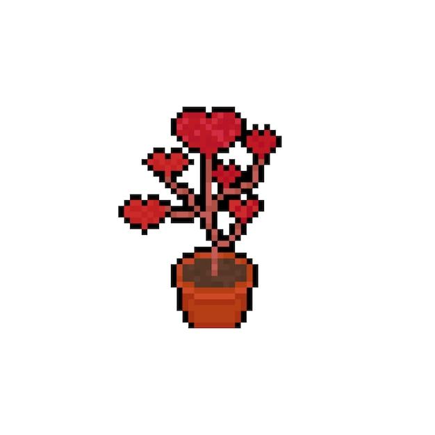 Icone D Arbre Coeur Rouge Dessin Anime Pixel Art Vecteur Premium