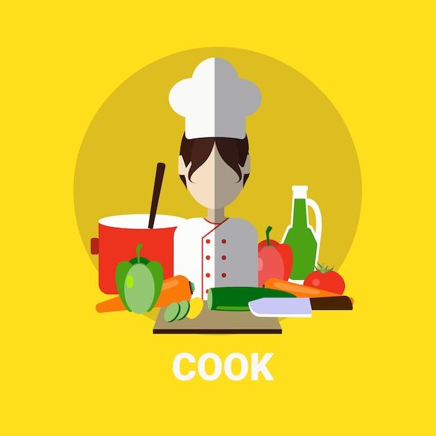 Icône d'avatar de profil de cuisinier / cuisinière Vecteur Premium