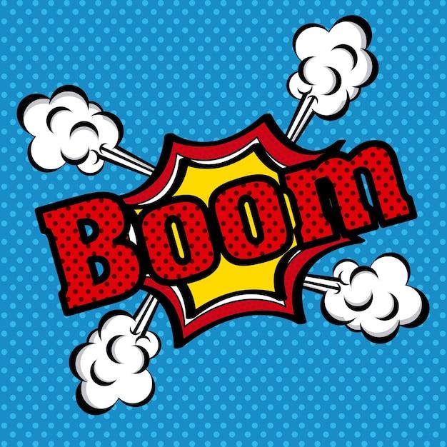 Icône de bande dessinée boom Vecteur Premium