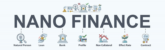 Icône de bannière web nano finance pour affaires et finances personnelles. Vecteur Premium