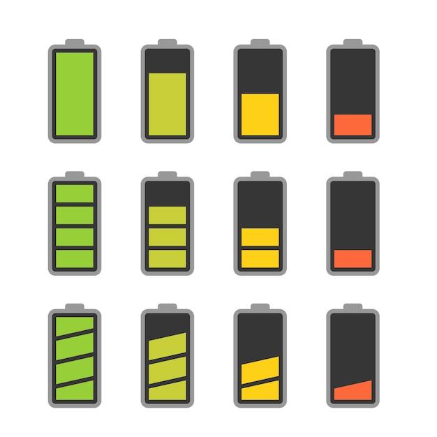 Icône De Batterie Avec Indicateurs De Niveau De Charge Colorés Vecteur Premium