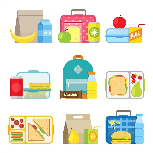 Icône de boîte à lunch pour enfants dans un style plat Vecteur Premium