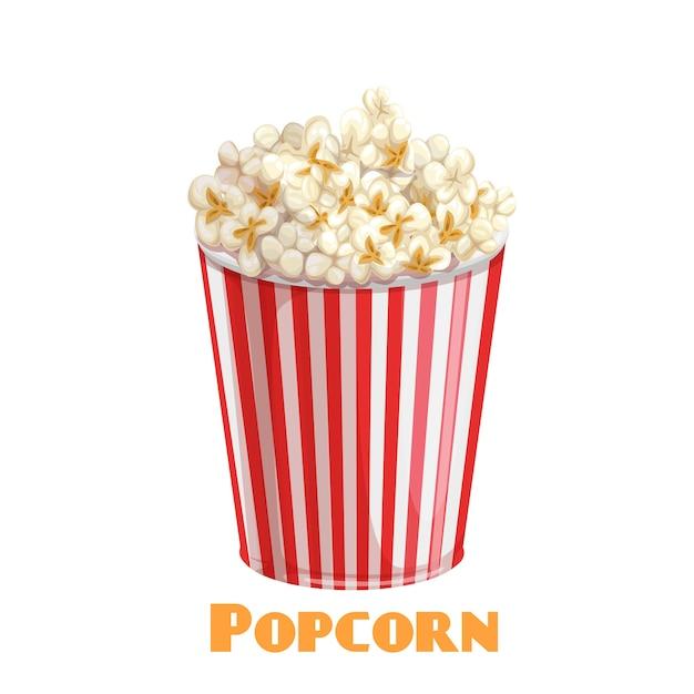 Icône De Bol Rayé Pop-corn Vecteur Premium