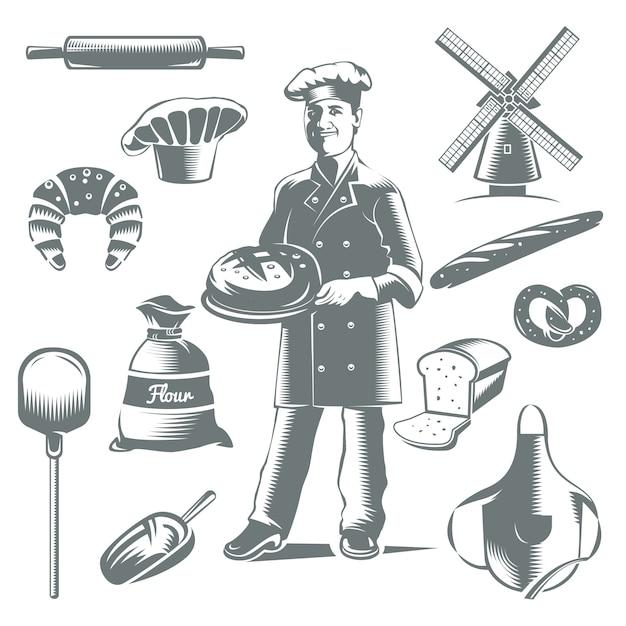 Icône De Boulangerie Vintage Sertie D'éléments Gris Isolés Gâteaux Et Cuisinier Vecteur gratuit