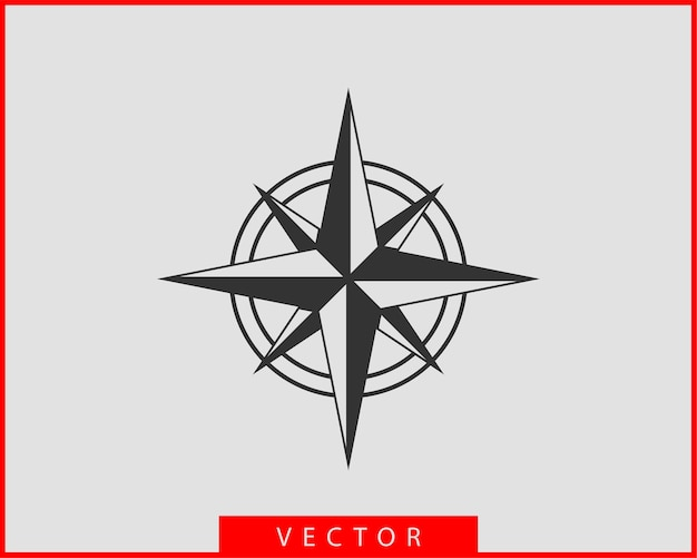 Icône De Boussole. Navigation D'étoile De Rose Des Vents. Vecteur Premium