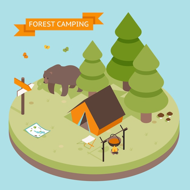 Icône De Camping Forestier 3d Isométrique. Forêt Et Tente, Ours Et Feu Vecteur gratuit