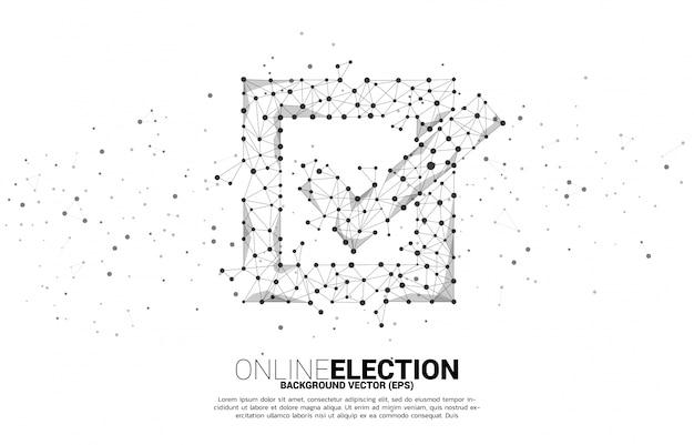 Icône De Case à Cocher Du Réseau De Polygones De Ligne De Connexion De Points. Concept Pour Le Vote électoral Vecteur Premium