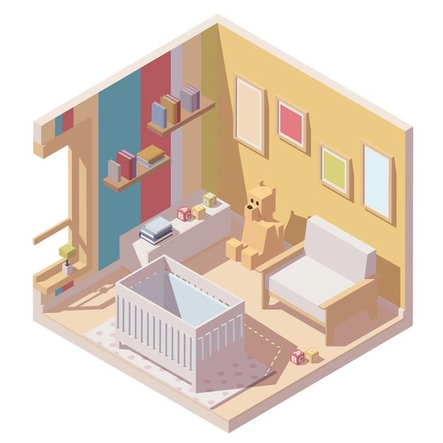Icône de la chambre de bébé en coupe Vecteur Premium
