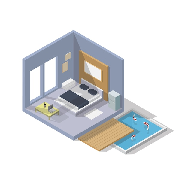 Icône de chambre à coucher isométrique Vecteur Premium