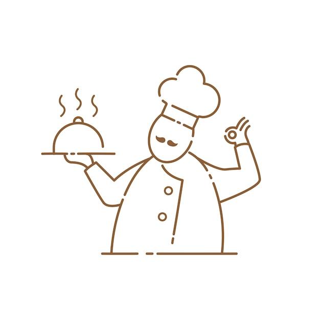 Icône de chef moustache sur le fond blanc Vecteur Premium